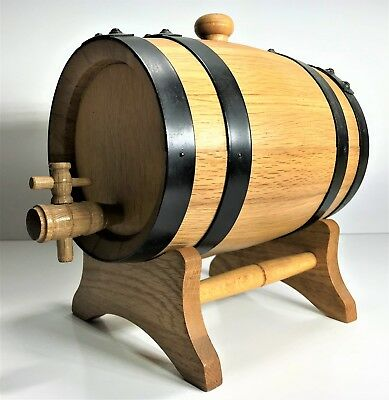 Miniature 2Ltr 20Cm Wooden Wine / Port / Alcohol Keg Barrel With Stand