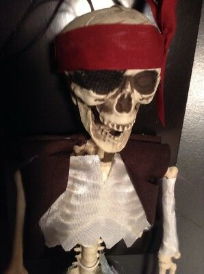 "Halloween 16"" Pirate Vest Bandana Sash Plastic Skeleton Hanging Sitting Decor"