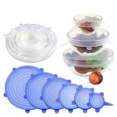 6PCS Stretch Reusable Silicone Bowl Wraps Food Saver Cover Seal Insta Lids TY