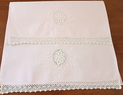 Vintage 50s 2 x PINK Cotton WHITE Floral EMBROIDERED Crochet Edge ANTIMACASSARS