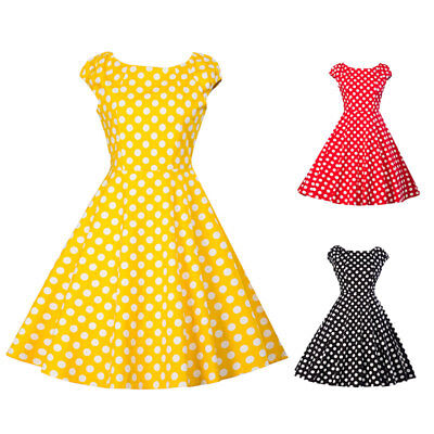Ladies Polka Dot Vintage 1950s 60s Rockabilly Evening Party Swing Retro Dress