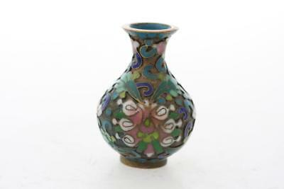 ANTIQUE early 20th Century CHINESE ENAMEL CLOISONNE MINI VASE