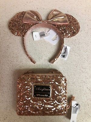 Disney Rose Gold Loungefly Minnie Mouse Clutch Wallet Perfect! NEW!!! Plus Ears