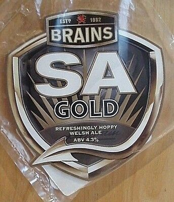 """A """"brains Brewery"""" Abv 4.3% """"sa Gold"""" Pump Clip Front & Beer Notes - New."""