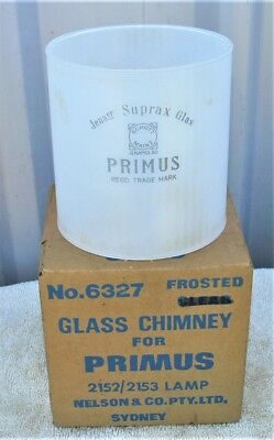 New old stock Primus glass lamp chimney in original box, frosted, 115mm x 110mm.