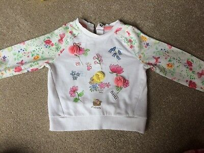 Girls' Mothercare White And Floral Patterned Jumper (1.5-2 Years)
