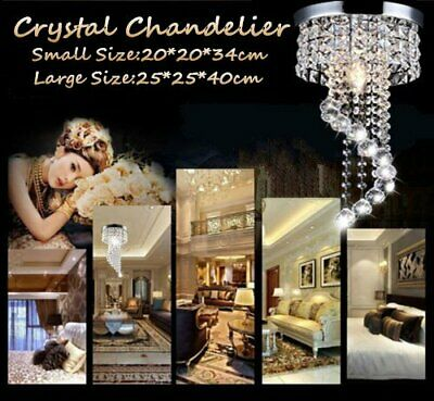Modern Chandelier Crystal Ceiling Hanging Led Lights Pendant Lamp Light Aisle MY