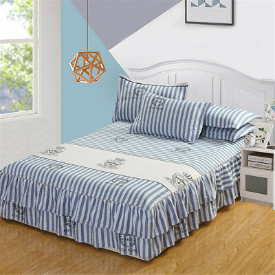 Wrap Around Bedding Bed Dressing Easy Fit Stripe Skirt 17 inch Ruffle Drop Cover
