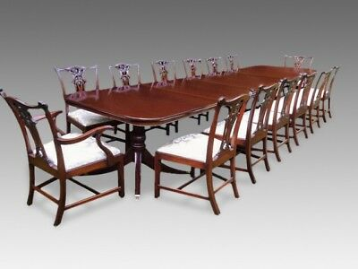 14ft GRAND CHIPPENDALE STYLE BRAZILIAN MAHOGANY DINING TABLE SET FRENCH POLISHED