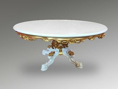 5.6Ft Amazing Designer French Louis Xvi Dining Table Pro French Painted & Gilded
