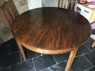 Midcentury Danish Rosewood Extending Round Dining Table 120cm Round 160cm Oval