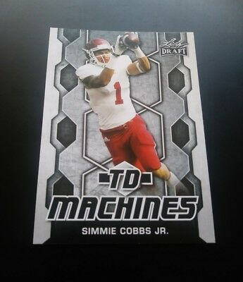 Simmie Cobbs Jr. Redskins RC Rookie TD Machines Leaf Draft 2018 NFL Card