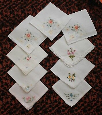 9 Vintage Embroidered Ladies Hankies