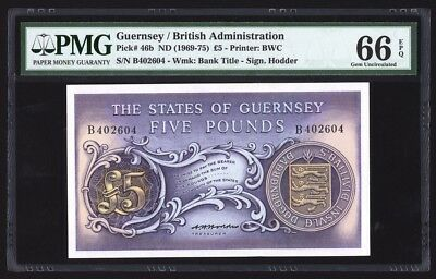 Guernsey 5 Pounds ND(1969-75) P46b PMG Gem Uncirculated 66 EPQ