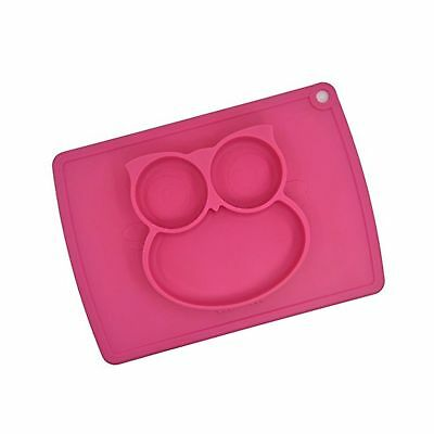 winly Babies Highchair Feeding Tray Round Silicone Suction Owl Placemat for C...