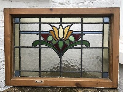 Reclaimed Old Leaded Stained Glass Victorian Edwardian Panel Window