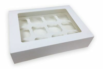 White Cupcake Boxes with Clear window top & Removable Tray - 4 hole, 6H, 12 hold