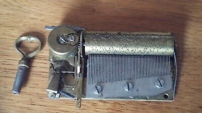 Antique French/ Swiss Musical Box Movement, With Original Key.