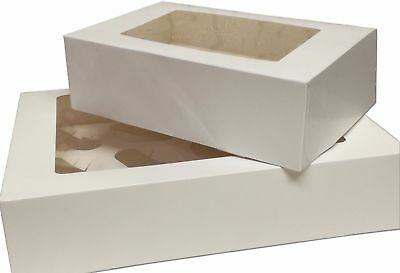 """Windowed White Cupcake Boxes 4 , 6 & 12 Hold With Removable Trays (3"""" inch Deep)"""