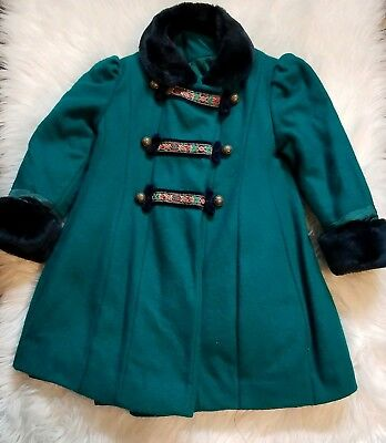 Vintage ROTHSCHILD Girls Size 3t Wool Blend Green Coat Made in the USA