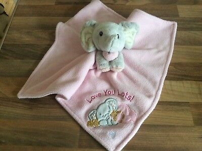 Elliot and Buttons Grey Elephant Pink Blanket Comforter Blankie Doudou Soft Toy