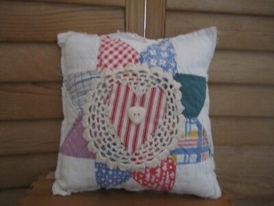 Primitive Quilted pillow -vintage quilt - white doily - redl ticking heart