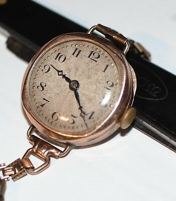 1928 Solid 9ct Gold Swiss Movement Ladies Watch, Tested Working - Very Good Cond
