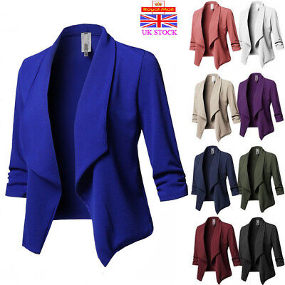 Women Ladies 3/4 Sleeve Collared Waterfall Style Cropped Blazer Jacket Plus Size