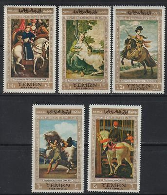Yemen 1968 ** Mi.751/55 Gemälde Paintings Pferde Horses Einhorn Unicorn Hunting
