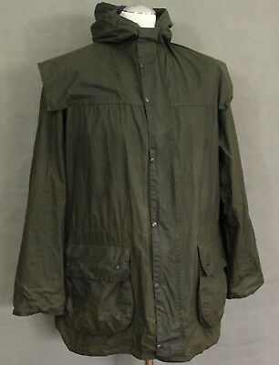 "BARBOUR Mens Green DURHAM Waxed JACKET / COAT - Size C38 - 38"" Chest - 97cm"