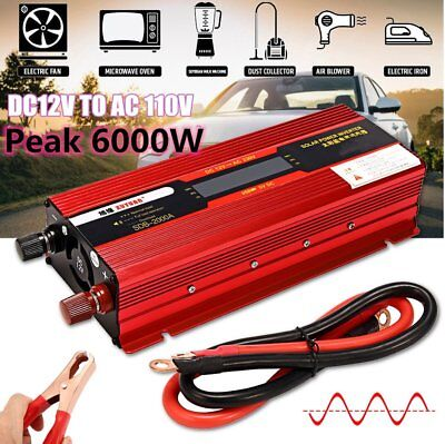 3000W-6000W WATT Peak Car LED Power Inverter DC 12V to AC 110V Dual Converter SD