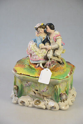 Antique Vieux Andenne porcelain bisque romantic couple hunting animals forest