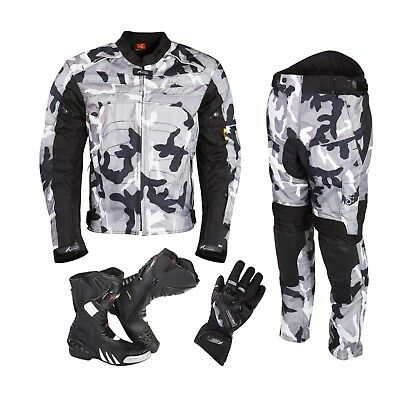 Motorbike Textile Suit Motorcycle Waterproof Armoured Jacket Trouser Winter New