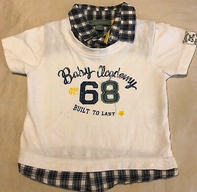 Baby Boys Pumpkin Patch T-shirt with Mock Shirt Size 3 - 6 months Excellent Cond