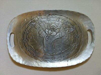 Chuck E Cheese  Silver Aluminum Tray By WENDELL AUGUST platter