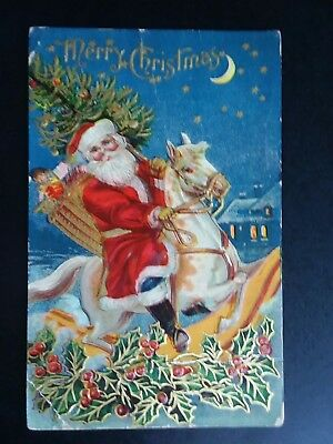 Antique Postcard Of Santa Claus On A White Horse.