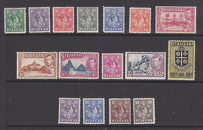 St Lucia 1933 set less 11/2d MH