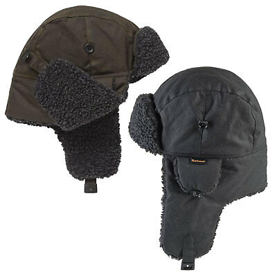 Barbour Mens Wax Waterproof Trapper Hat Black Or Olive Green Size S M L XL