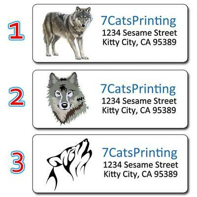 30 Wolf Wolves Return Address Labels Personalized Printing Gray Wolf Howling