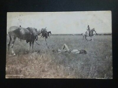 1907 photo Postcard entitled after a Native American battle