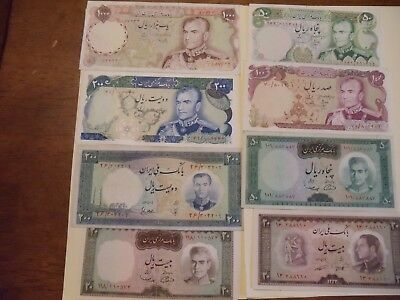 Iran lot of 8 old Bank Notes 20 - 1000 Rials Shah Great Condition
