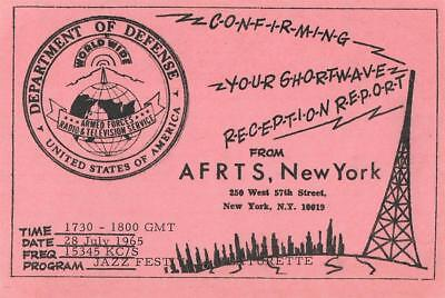 1965 QSL: AFRTS - American Forces Radio & Television Service, New York, USA