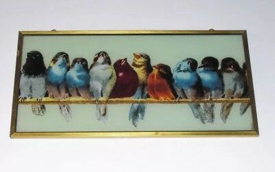 Victorian Stainded Glass Window Insert Enamelled Glass Sparrow Finches Panel