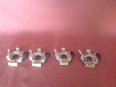 4 Ceramic Teapot Napkin Holders Blue & White   AL