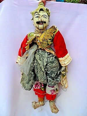 """Vintage Burmese Hand Carved Multi Jointed Marionette String Puppet 30"""" Tall Vgc"""