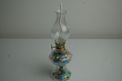 Vintage Miniature Lamp Candy Container with Original Candy, Near Mint