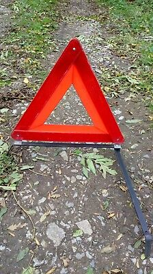 Vintage car warning triangle RAC 1984. Hazard breakdown Europe travel. 53cm high