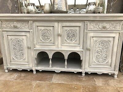 Antique Carved Solid Walnut Galleried  Painted Sideboard Dresser Cabinet