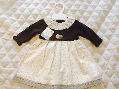 SPANISH VB GIRLS  KNITTED TOP COTTON DRESS CREAM/BROWN GREY LACE TRIM 12mths