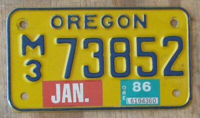 OREGON   MOTORCYCLE license plate   1986  M3 73852